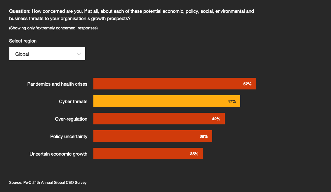 CEO key concerns. Out of the PwC 24th Annual Global CEO Survey, dated from 2021.