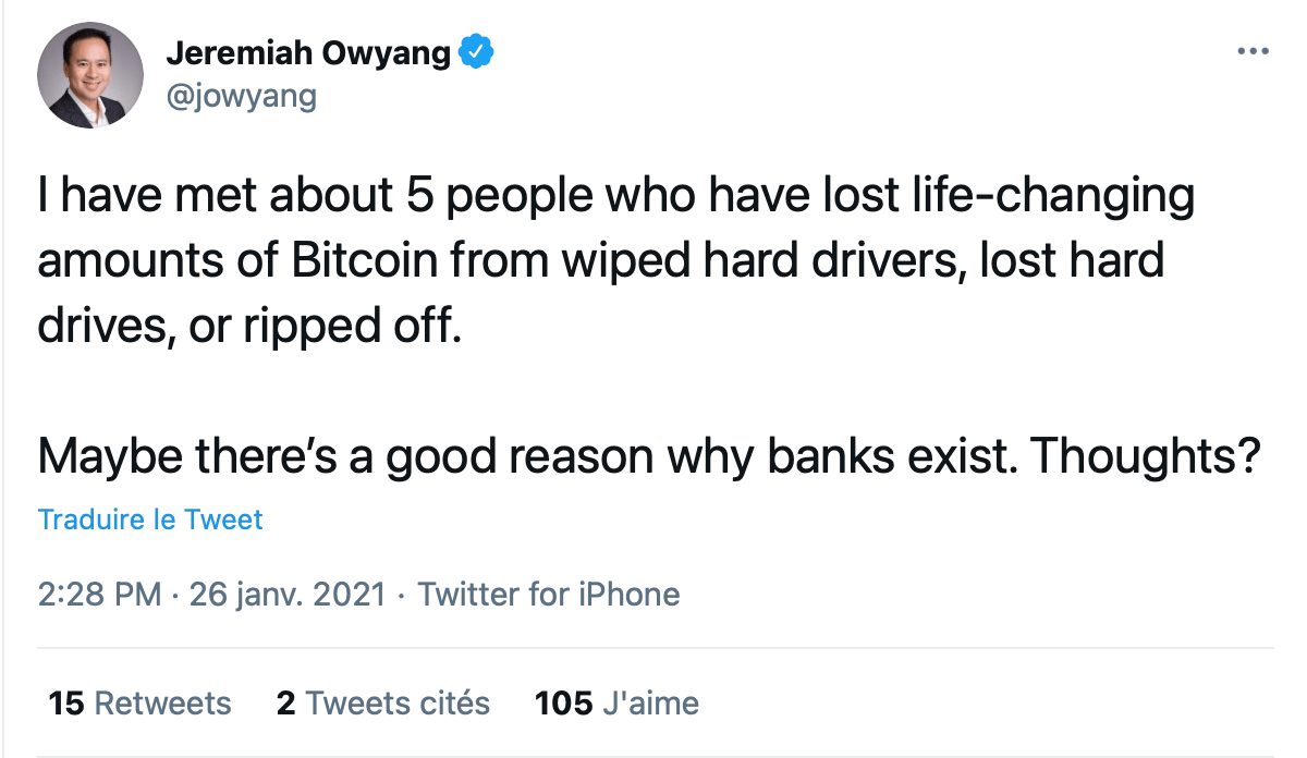 Jeremy Owyang tweeting about bitcoin mismanagement of wallet keys.